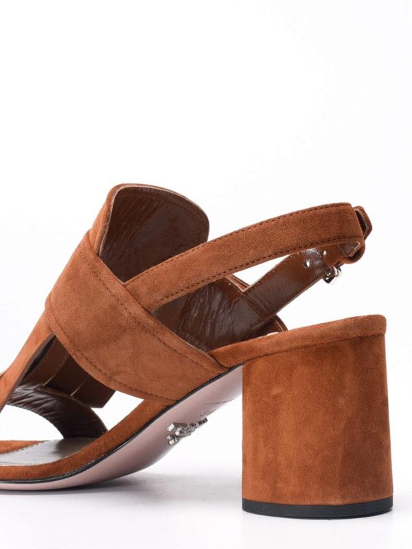 Flower detail fringe suede sandals  shop online: Prada