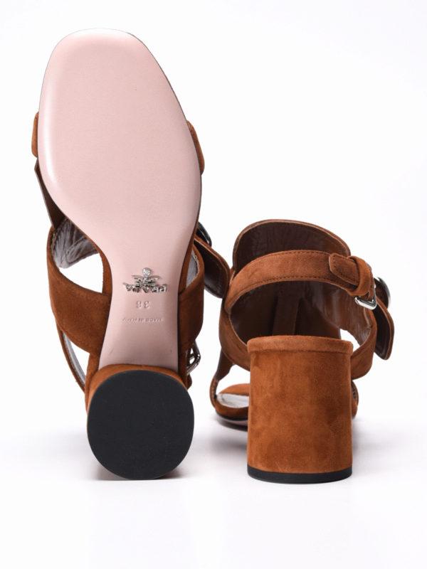 Prada buy online Flower detail fringe suede sandals