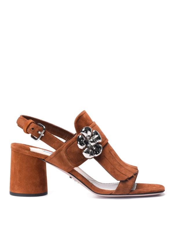 Prada:  - Flower detail fringe suede sandals