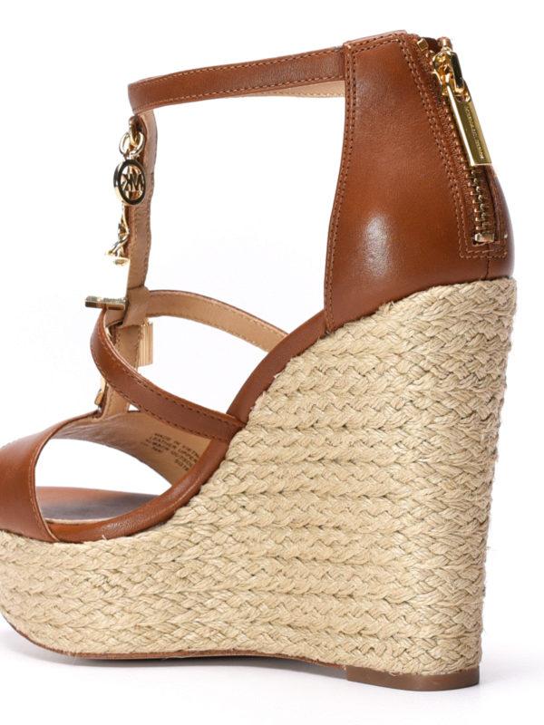 Suki wedge leather sandals shop online: Michael Kors