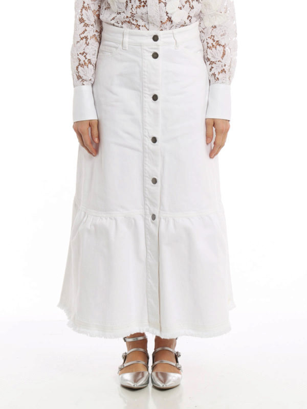 A-line long cotton denim skirt by Valentino - Long skirts   iKRIX