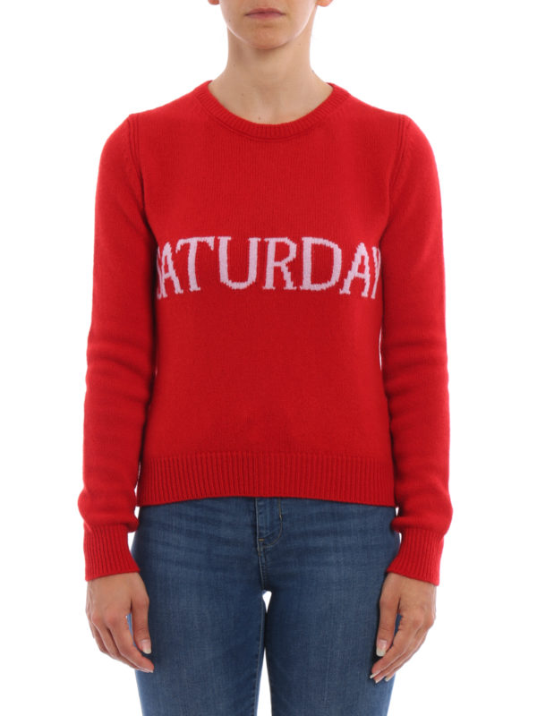 Alberta Ferretti: Strickpullover mit Rundhalsausschnitt online - Rundhalspullover - Rot