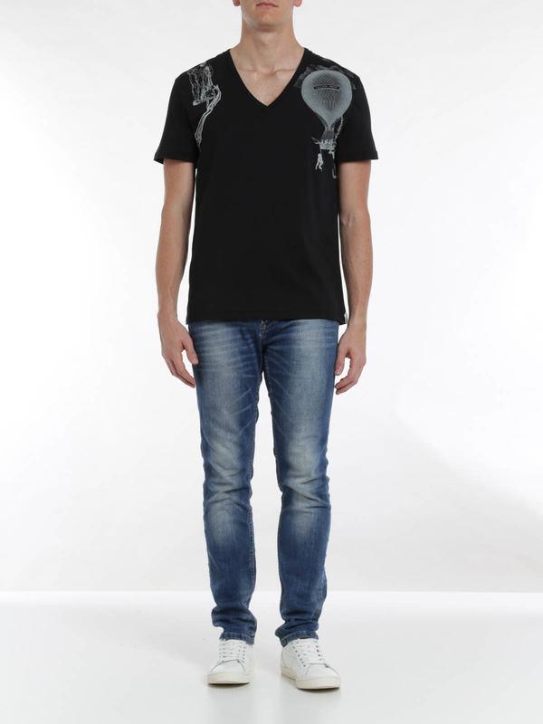 ALEXANDER MCQUEEN: t-shirts online - Harness print t-shirt
