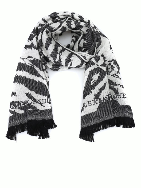 ALEXANDER MCQUEEN: scarves - Wool jacquard fringed scarf