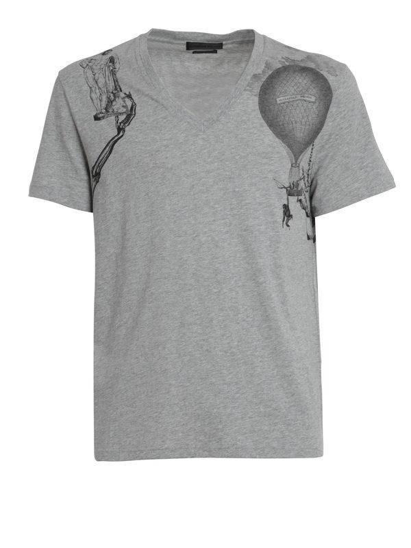 ALEXANDER MCQUEEN: t-shirts - Harness print t-shirt
