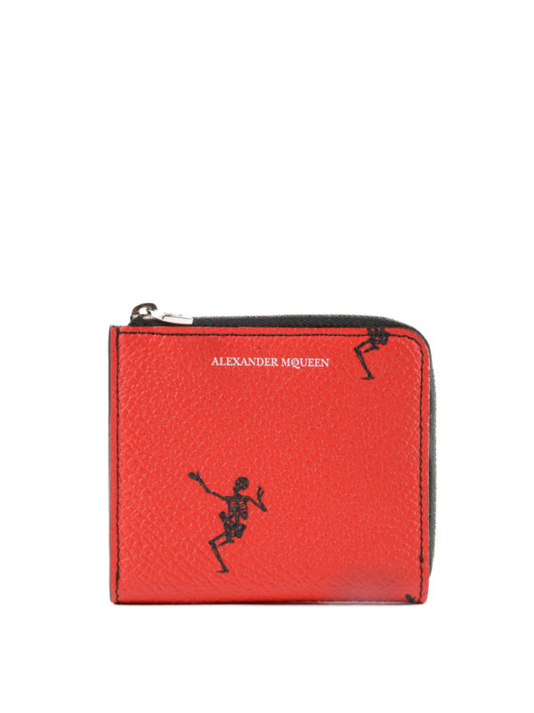 ALEXANDER MCQUEEN: wallets & purses - Dancing Skeleton red coin case