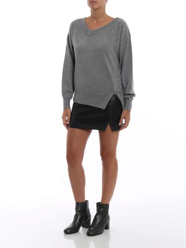 ALEXANDER WANG: Strickpullover mit V-Ausschnitt online - V-Pullover - Grau