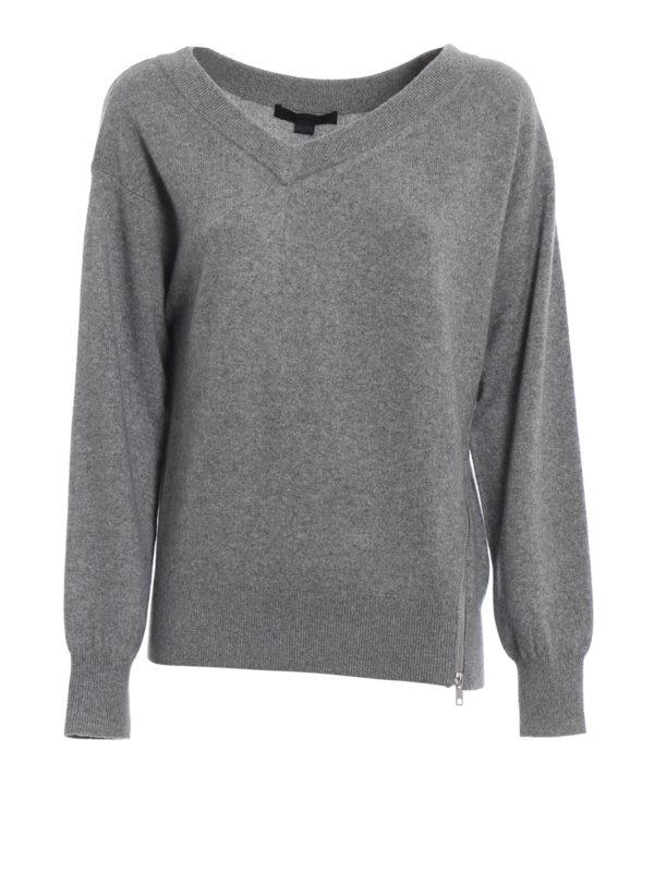 ALEXANDER WANG: Strickpullover mit V-Ausschnitt - V-Pullover - Grau