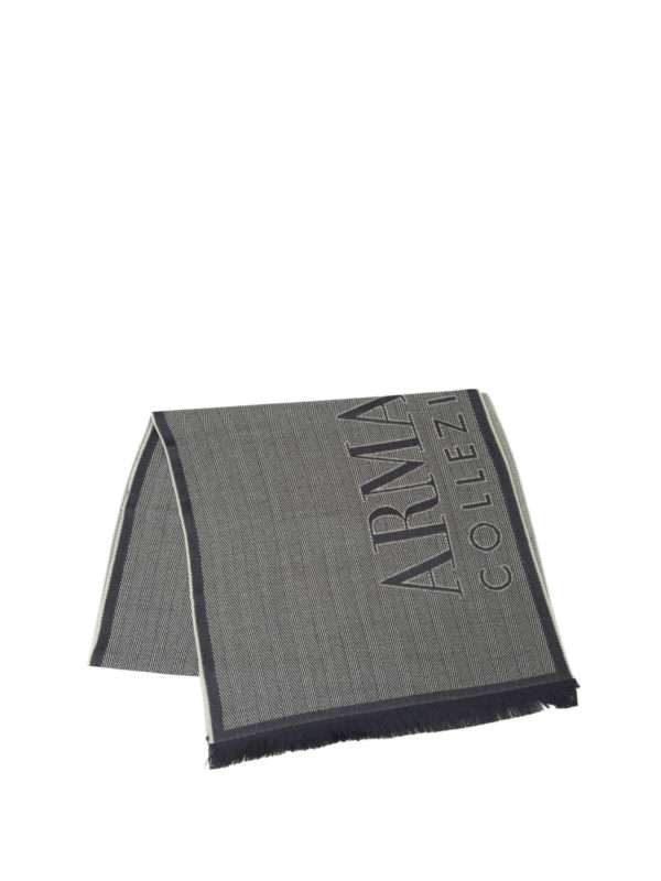ARMANI COLLEZIONI: scarves online - Two-tone herringbone wool scarf
