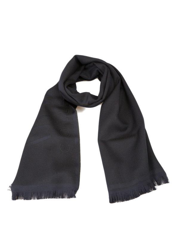 ARMANI COLLEZIONI: scarves - Logo herringbone wool scarf