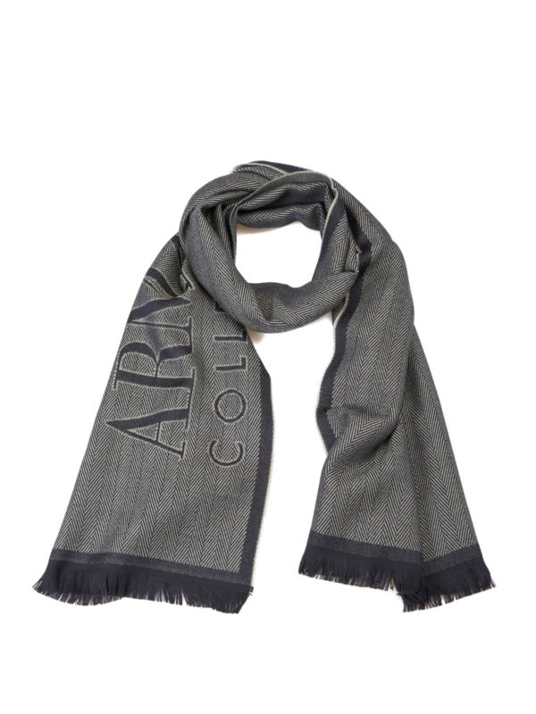 ARMANI COLLEZIONI: scarves - Two-tone herringbone wool scarf