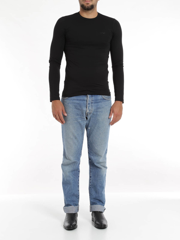 Armani Jeans: T-shirts online - Stretch jersey cotton top