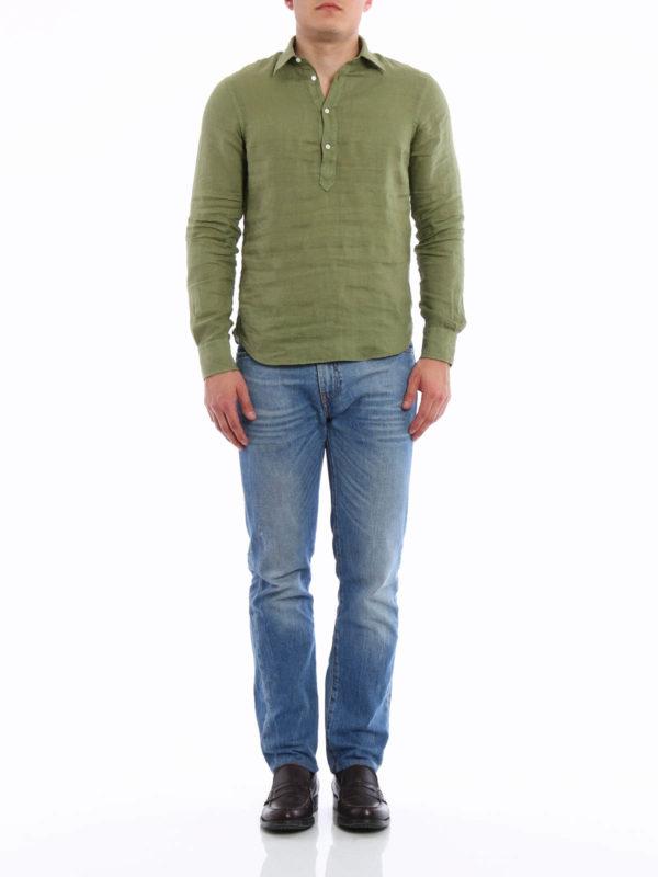 ASPESI: shirts online - Linen polo-inspired shirt