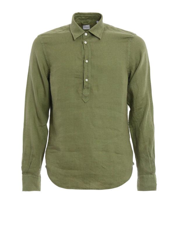 ASPESI: shirts - Linen polo-inspired shirt