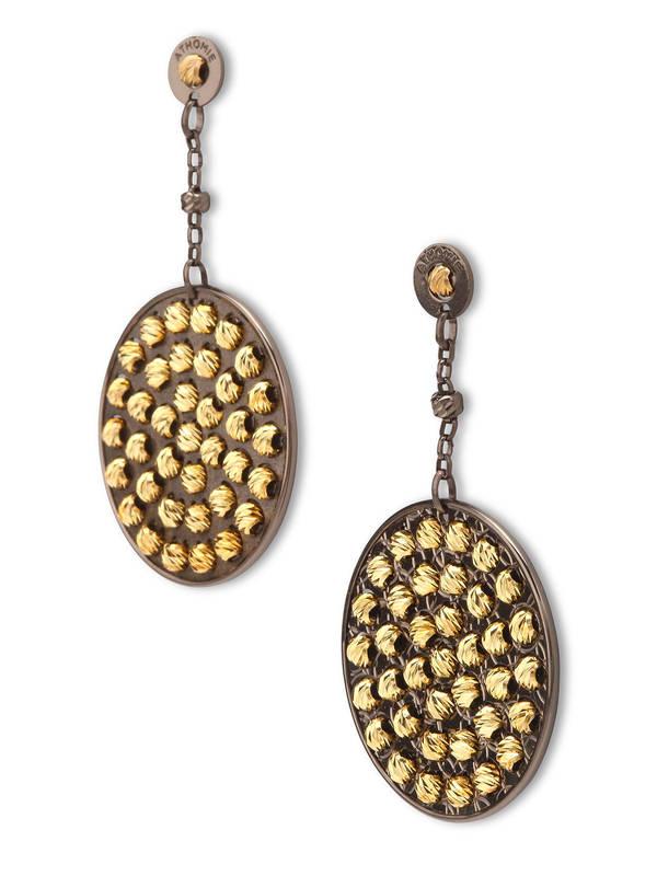 Athomie: Earrings online - Sterling silver bead disc earrings