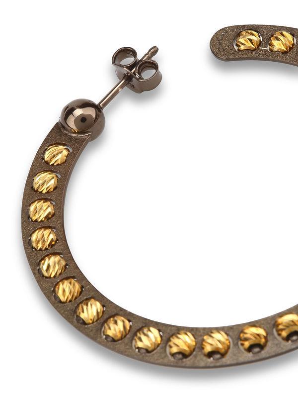 Athomie: Earrings online - Sterling silver bead hoop earrings