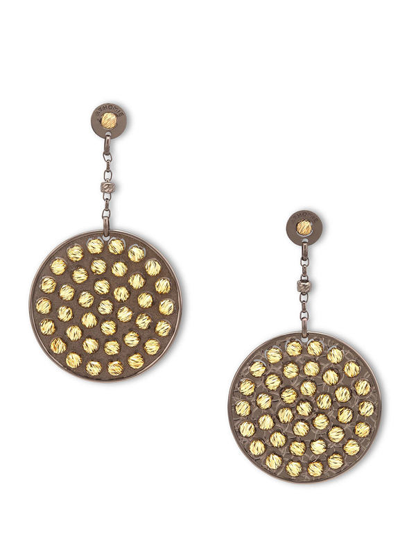 Athomie: Earrings - Sterling silver bead disc earrings