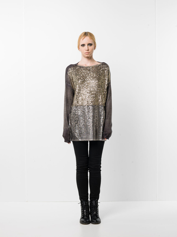 Avant Toi: U-Boot-Ausschnitt - Loose fit sequined top