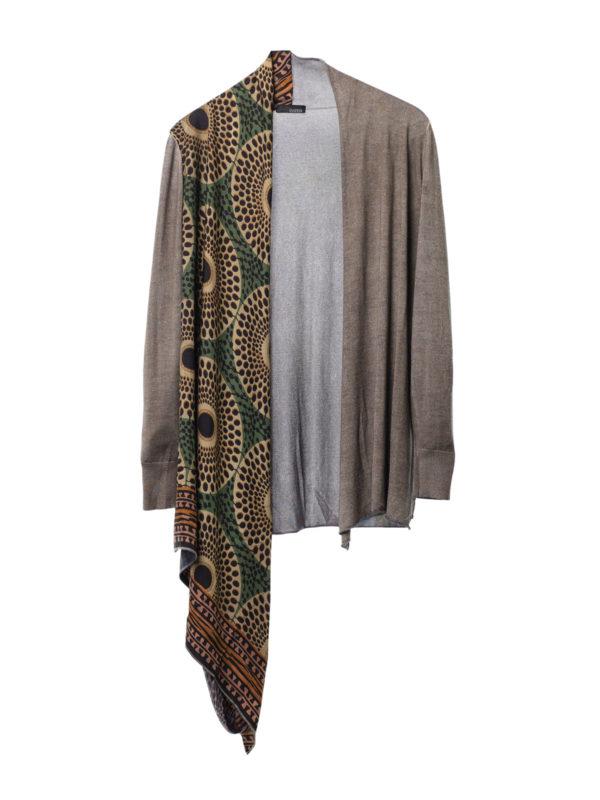 Avant Toi: cardigans - Cardigan with draped foulard