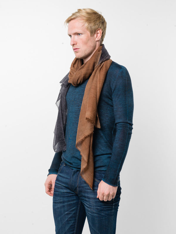 Avant Toi: scarves online - Orange / black scarf
