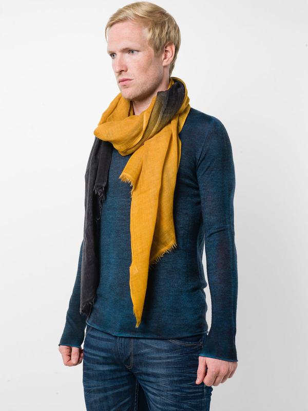 Avant Toi: scarves online - Yellow / black scarf