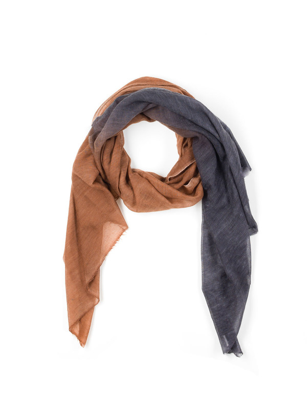 Avant Toi: scarves - Orange / black scarf