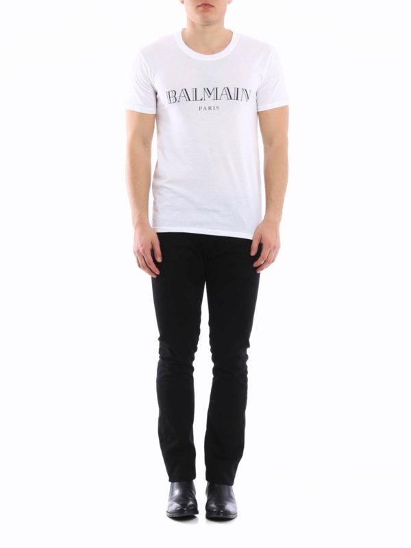 adca20ebf0 Balmain - Camiseta Blanca Para Hombre - Camisetas - S6H J601 I312 100