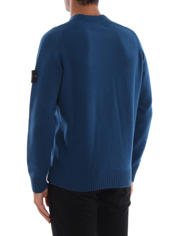 Blue green knit wool blend sweater shop online: STONE ISLAND