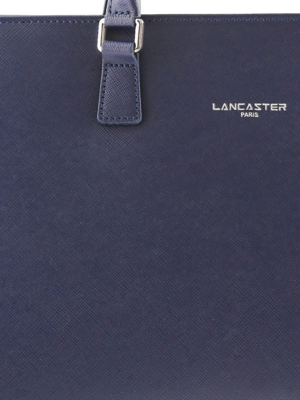 Blue Saffiano leather tote shop online: LANCASTER