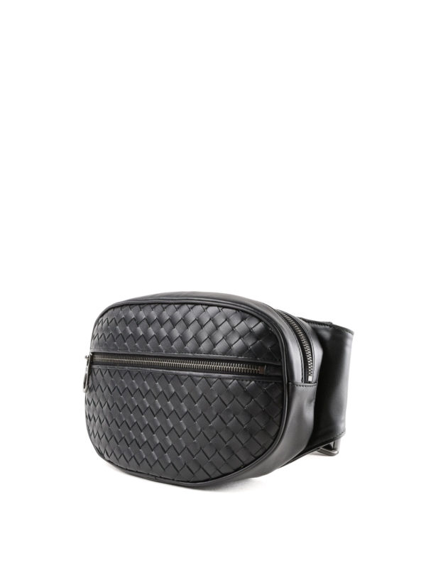 44a75b76a017 BOTTEGA VENETA  belt bags online - Black woven leather belt bag