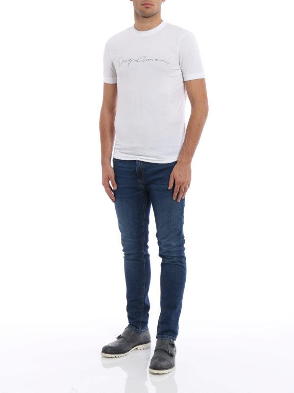 T-Shirt - Einfarbig shop online: GIORGIO ARMANI