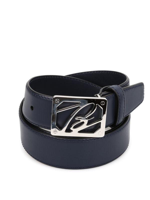 BRIONI: belts online - Leather belt with logo buckle
