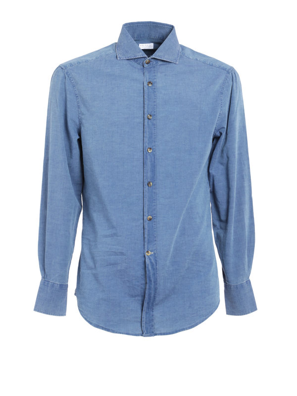 Brunello Cucinelli: shirts - Denim cotton shirt