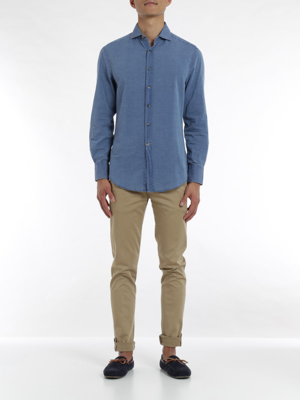 Brunello Cucinelli: shirts online - Denim cotton shirt