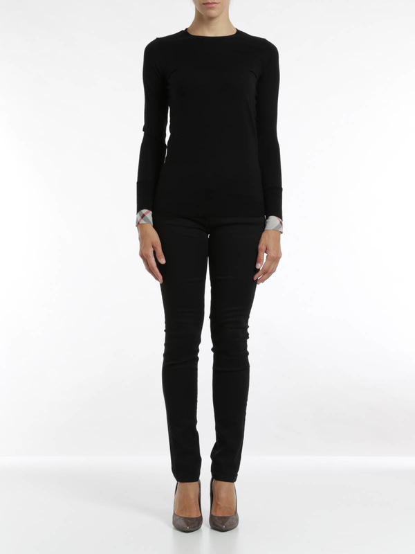 Burberry Brit: crew necks online - Check cuff wool Top