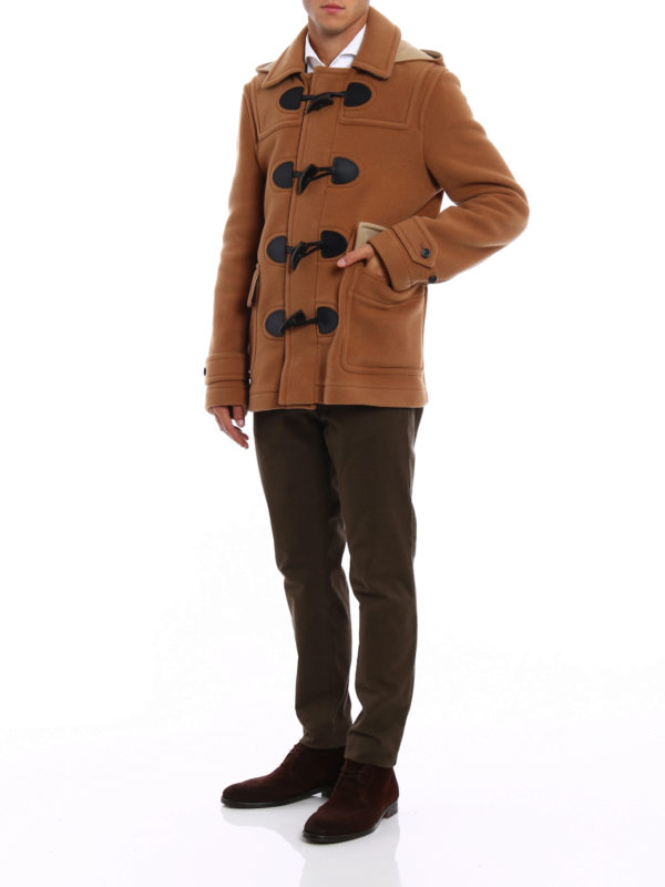 wool blend duffle jacket with hood by burberry casual