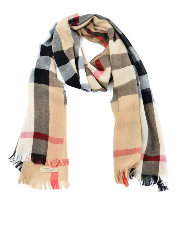 BURBERRY: scarves - Check merino and cashmere scarf