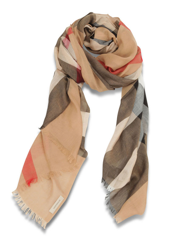 Burberry: scarves - Check Modal Cashmere and Silk Scarf
