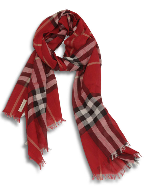 Burberry: scarves - Check Wool Silk Scarf
