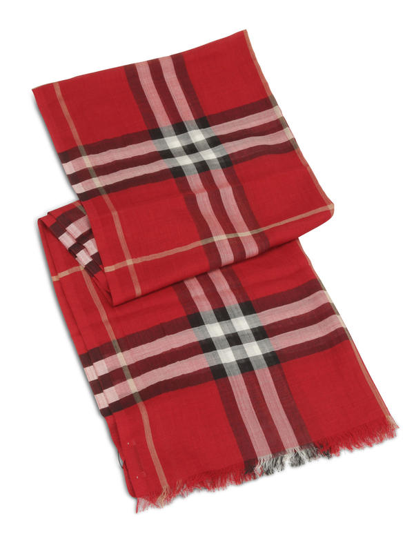 Burberry: scarves online - Check Wool Silk Scarf