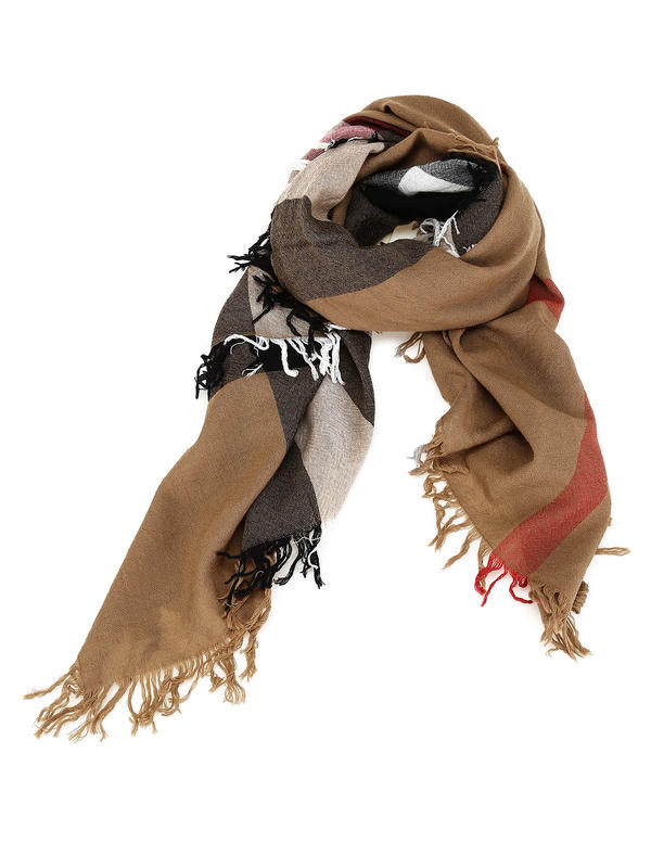Burberry: Stoles & Shawls - Check Wool Scarf House Check