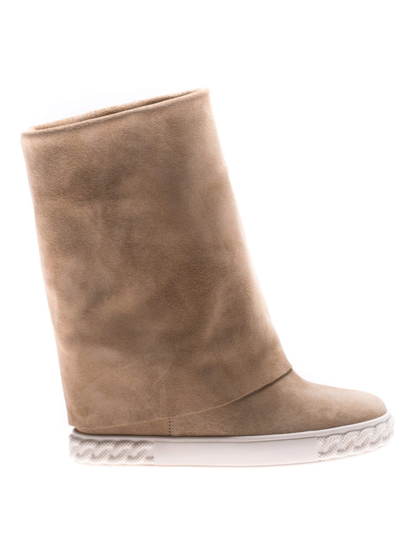Casadei: boots - Reversible beige suede wedge boots