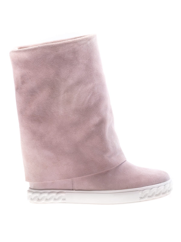 Casadei: boots - Reversible pink suede wedge boots