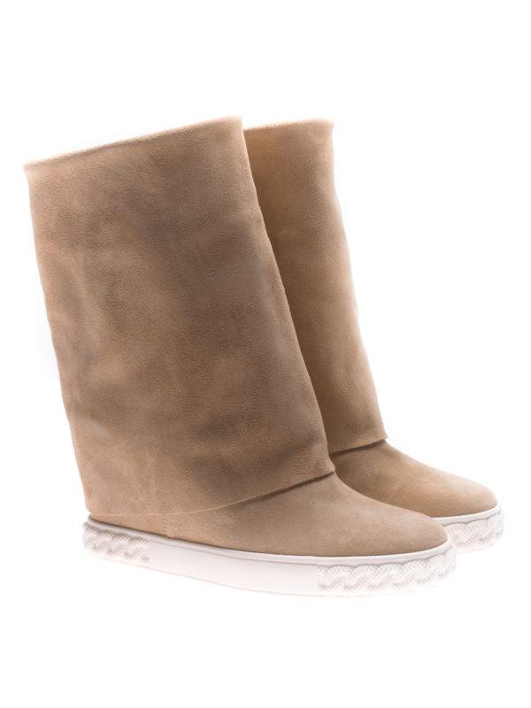 Casadei: boots online - Reversible beige suede wedge boots