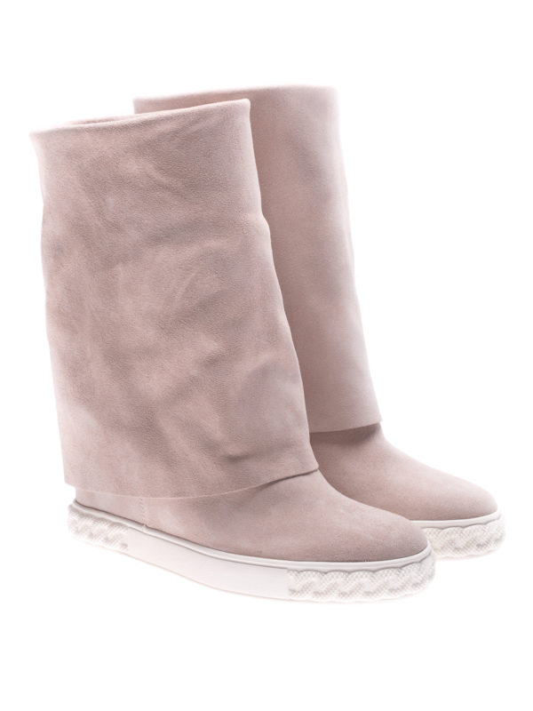 Casadei: boots online - Reversible pink suede wedge boots