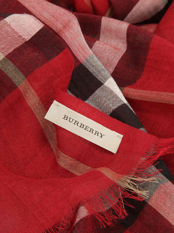 Check Wool Silk Scarf shop online: Burberry