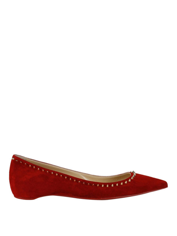 ce16651c33ca CHRISTIAN LOUBOUTIN  flat shoes - Anjalina spike trim red suede flats
