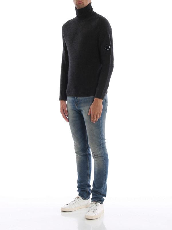 CP COMPANY: Turtlenecks & Polo necks online - Melange green Lens wool blend knit sweater
