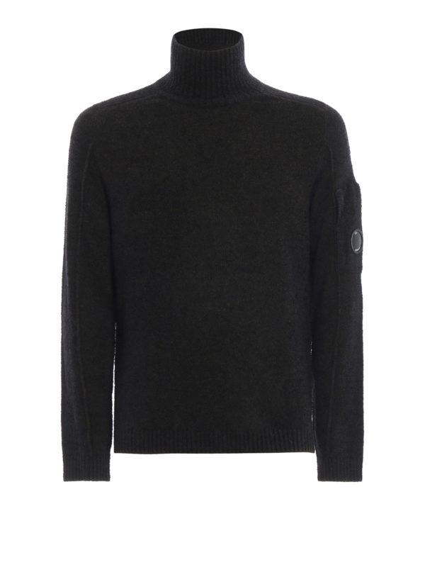 CP COMPANY: Turtlenecks & Polo necks - Melange green Lens wool blend knit sweater