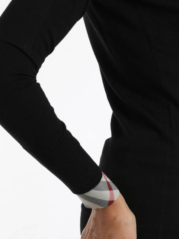 Strickpullover mit Rundhalsausschnitt shop online. Check cuff wool Top